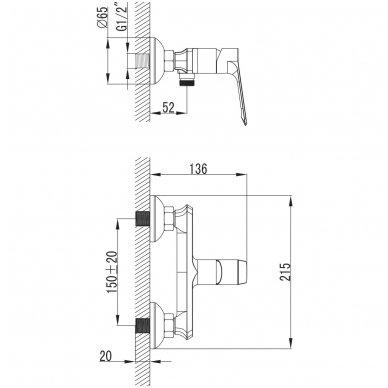 Maišytuvas dušui Omnires Norman NR7640 3