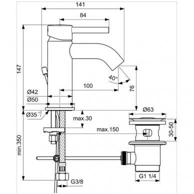 Maišytuvas praustuvui Ideal Standard Ceraline 2
