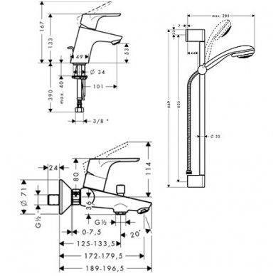 Maišytuvų komplektas Hansgrohe Focus E2 31934000 2