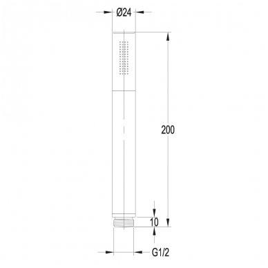 Metalinė chromuota dušo galvutė pagaminta iš žalvario Omnires Microphone-R CR 2