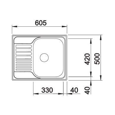 Nerūdijančio plieno plautuvė Blanco Tipo 45 S Mini 18/10 (60,5x50 cm) 5