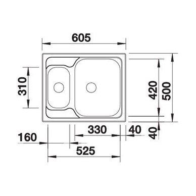 Nerūdijančio plieno plautuvė Blanco Tipo 6 18/10 (60,5x50 cm) 3