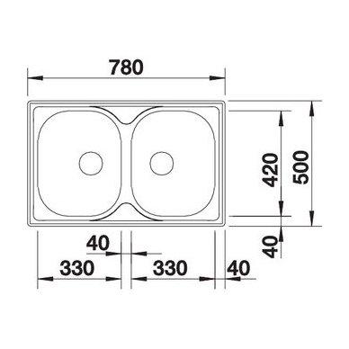 Nerūdijančio plieno plautuvė Blanco Tipo 8 Compact 18/10 (78x50 cm) 3