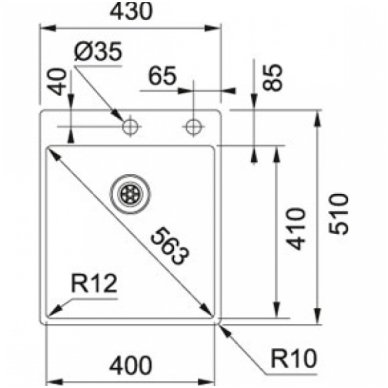 Nerūdijančio plieno plautuvė FRANKE BOX BXX 210-40 A su integruotu ventiliu 2