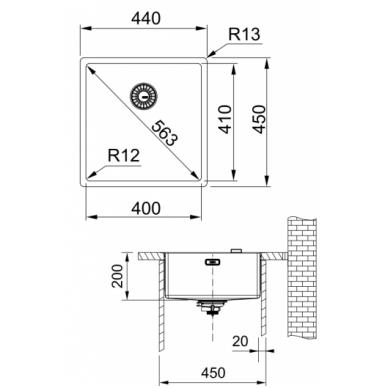 Nerūdijančio plieno plautuvė Franke BOX BXX 210/110-40 2