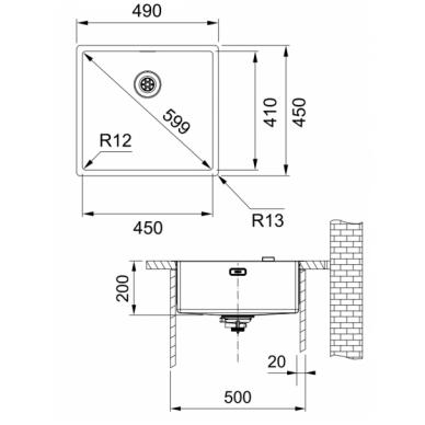 Nerūdijančio plieno plautuvė Franke BOX BXX 210/110-45 3