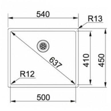 Nerūdijančio plieno plautuvė Franke BOX BXX 210/110-50 2