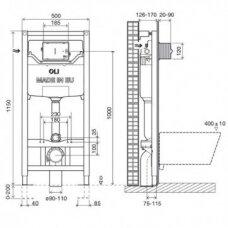OLI 120 PLIUS universalus WC rėmas su tvirtinimais