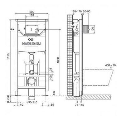 OLI 120 PLIUS universalus WC rėmas su tvirtinimais 2