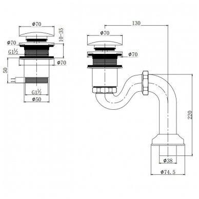 Omnires vonios sifonas W10/CH 2
