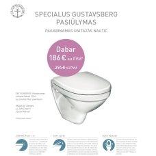 Pakabinamas Gustavsberg Nautic 5530 klozetas su ceramic plus paviršiumi, soft-close dangčiu ir quick release funkcija