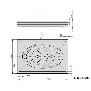 PAA ART lieto akmens dušo padėklas 120x80 arba 120x90
