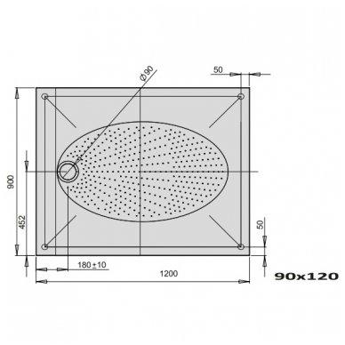 PAA ART lieto akmens dušo padėklas 120x80 arba 120x90 5