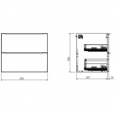 Pakabinama spintelė 60x42 cm su pastatomu stačiakampiu praustuvu Omnires DreamSet 2