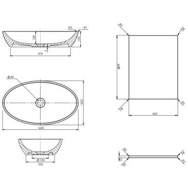 Pakabinama spintelė 60x46 cm su ovaliu pastatomu praustuvui Omnires DreamSet 2