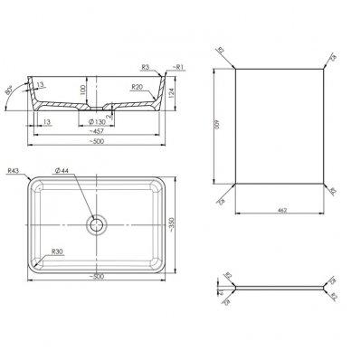 Pakabinama spintelė 60x46 cm su pastatomu stačiakampiu praustuvu Omnires DreamSet 3