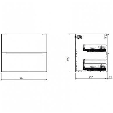 Pakabinama spintelė 60x46 cm su pastatomu stačiakampiu praustuvu Omnires DreamSet 2