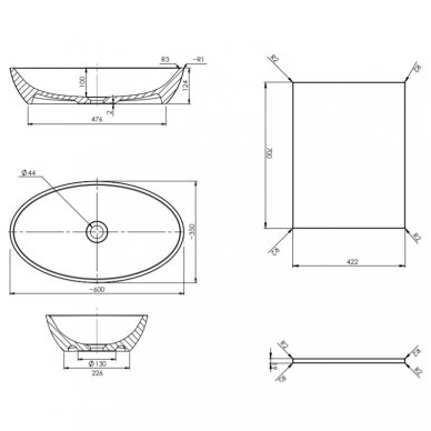 Pakabinama spintelė 70x42 cm su ovaliu pastatomu praustuvu Omnires DreamSet 3