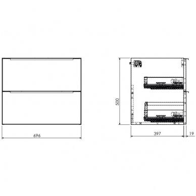 Pakabinama spintelė 70x42 cm su ovaliu pastatomu praustuvu Omnires DreamSet 2