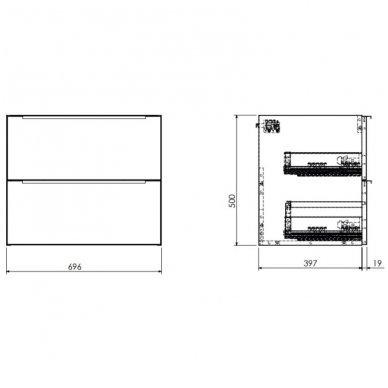 Pakabinama spintelė 70x42 cm su stačiakampiu pastatomu praustuvui Omnires DreamSet 3