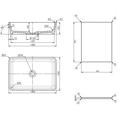 Pakabinama spintelė 70x42 cm su stačiakampiu pastatomu praustuvui Omnires DreamSet 2
