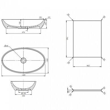 Pakabinama spintelė 76x46 cm su pastatomu ovaliu praustuvu Omnires DreamSet 3