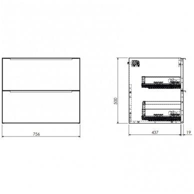 Pakabinama spintelė 76x46 cm su pastatomu ovaliu praustuvu Omnires DreamSet 2