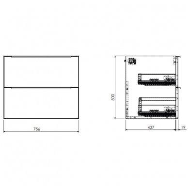 Pakabinama spintelė 76x46 cm su stačiakampiu pastatomu praustuvu Omnires DreamSet 3