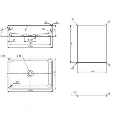 Pakabinama spintelė 76x46 cm su stačiakampiu pastatomu praustuvu Omnires DreamSet 2