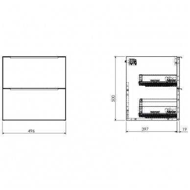 Pakabinama spintelė su baldiniu praustuvu Omnires DreamSet 50 cm 3