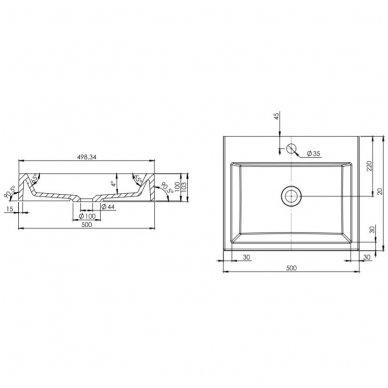 Pakabinama spintelė su baldiniu praustuvu Omnires DreamSet 50 cm 2