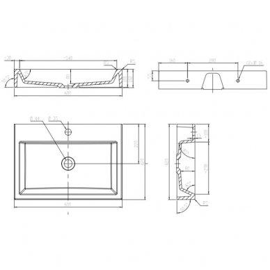 Pakabinama spintelė su baldiniu praustuvu Omnires DreamSet 60 cm 3