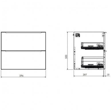 Pakabinama spintelė su baldiniu praustuvu Omnires DreamSet 60 cm 2