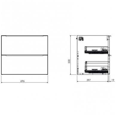 Pakabinama spintelė su baldiniu praustuvu Omnires DreamSet 70cm 2