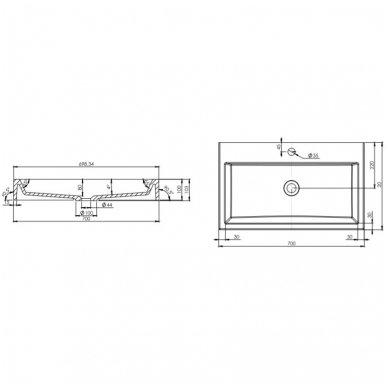 Pakabinama spintelė su baldiniu praustuvu Omnires DreamSet 70cm 3