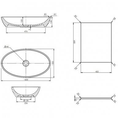 Pakabinama spintelė 60x42 cm su ovaliu pastatomu praustuvu Omnires DreamSet 3