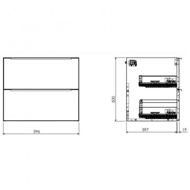 Pakabinama spintelė 60x42 cm su ovaliu pastatomu praustuvu Omnires DreamSet 2