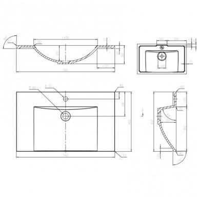 Pakabinama spintelė su praustuvu Omnires DreamSet 76 cm 3