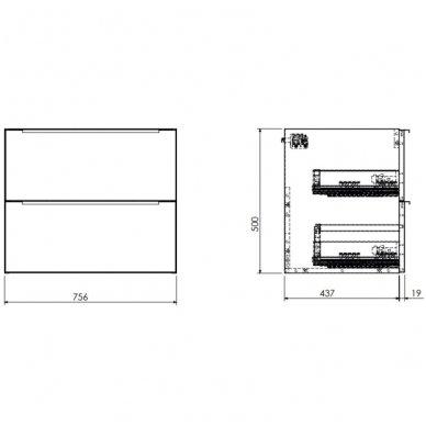 Pakabinama spintelė su praustuvu Omnires DreamSet 76 cm 2