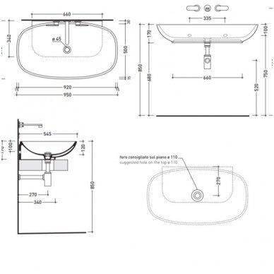 Pakabinamas arba pastatomas ant stalviršio praustuvas Flaminia Nuda 95x54,5cm 3