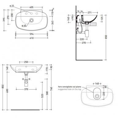 Pakabinamas arba pastatomas ant stalviršio praustuvas Flaminia Nudaslim 61x39,5 3