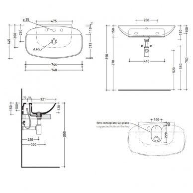 Pakabinamas arba pastatomas ant stalviršio praustuvas Flaminia Nudaslim 76x44,5 3