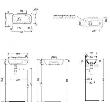 Pakabinamas arba pastatomas ant stalviršio praustuvas Flaminia Pass 40x22cm 4
