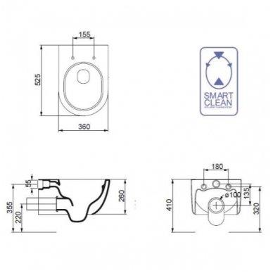 Pakabinamas klozetas su plonu lėtaeigiu dangčiu GSG Design LIKE 7