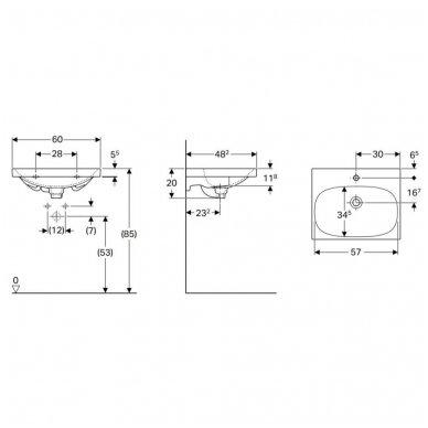 Pakabinamas praustuvas Geberit Acanto su paslėptu persipylimu 60x48,2cm 2