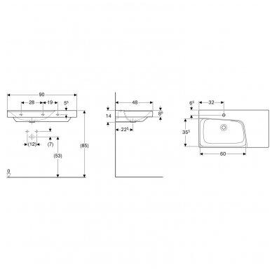 Pakabinamas praustuvas Geberit Xeno² 90x48cm 4
