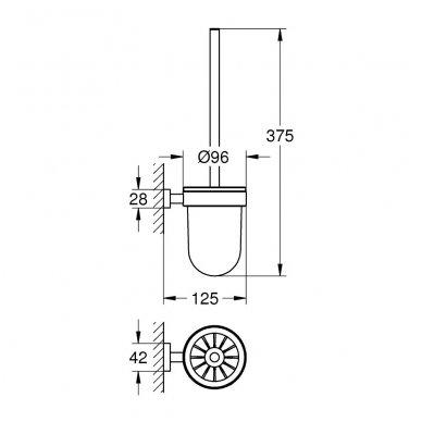 Pakabinamas tualetinis šepetys Grohe Essentials Cube 2