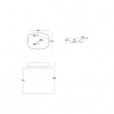 Pastatomas ant stalviršio praustuvas Alice Ceramica Lavabo Form Ovale 60x45 3
