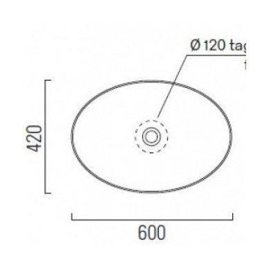 Pastatomas ant stalviršio praustuvas GSI PURA 60cm su ExtraGlaze danga 6