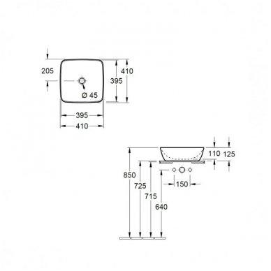 Pastatomas ant stalviršio praustuvas Villeroy&Boch Artis 41x41 cm 4